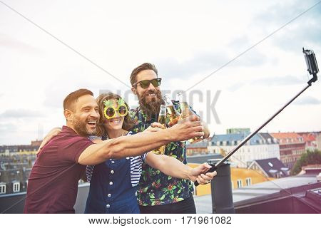 Inebriated Young Friends Posing For A Selfie