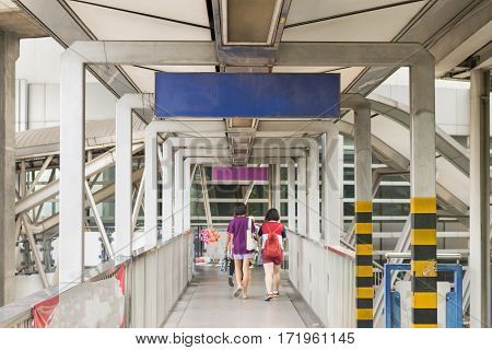 Skywalk At Bts Skytrain Train