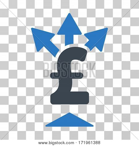 Split Pound Payment vector pictograph. Illustration style is a flat iconic bicolor smooth blue symbol on a transparent background.
