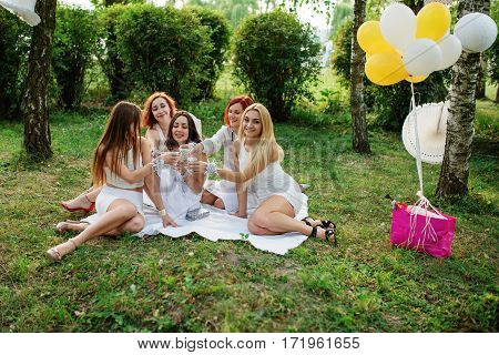 Five Girls With Champagne At Hand Weared On White Dress On Hen Party Sitting Outdoor At Park And Hav