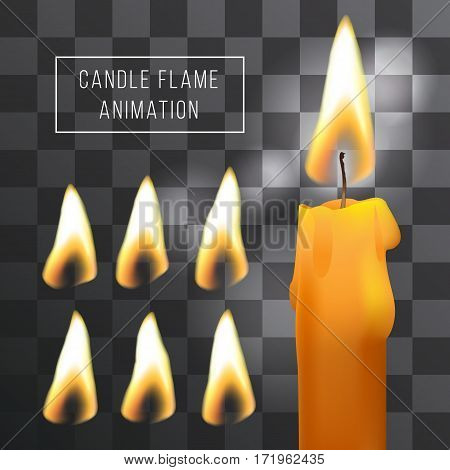 Vector wax candle flame animation on transparent background. Fire light effect. Gradient mesh for designer