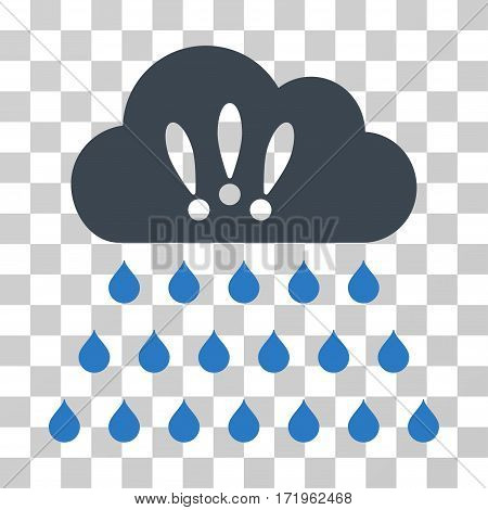 Thunderstorm Rain Cloud vector pictograph. Illustration style is a flat iconic bicolor smooth blue symbol on a transparent background.