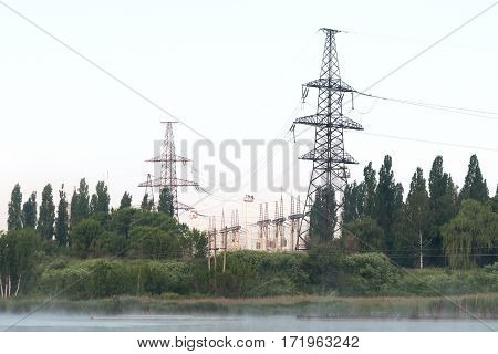 High-voltage switchgear nuclear power plant. Industrial landscape.