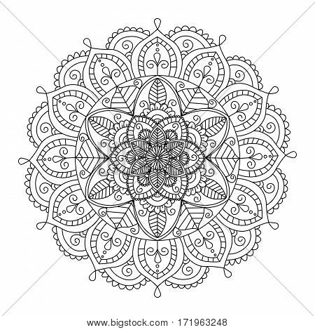 Floral mandala isolated on white background. Ethnic decorative elements. Coloring book for adult and older children. Outline vector illustration.