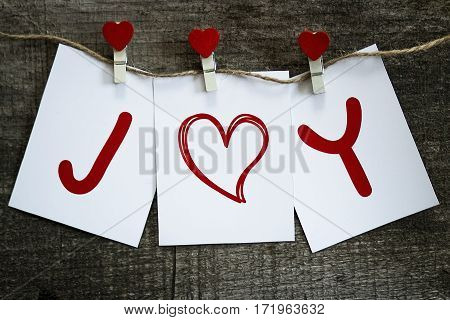 Cards with I love you on wooden board