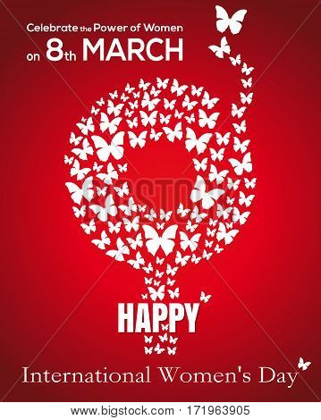 Gender symbol consisting of flying butterflies. 8 March. Gender female symbol. International Women's Day card. Happy Women's Day concept. Vector illustration