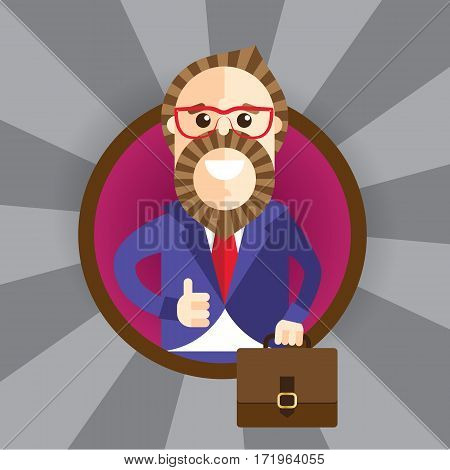 Happy businessman making thumbs up sign. Trendy stylish purple suit and modern hairstyle and beard from barbershop. Vector character. Set of the professions