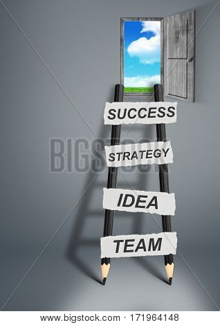 way to success creative concept pencil Ladder