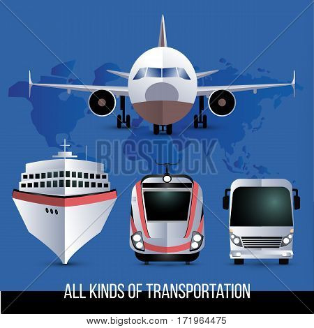 All kinds of travel transport. Plane, bus, train and cruise liner. One style vector set.
