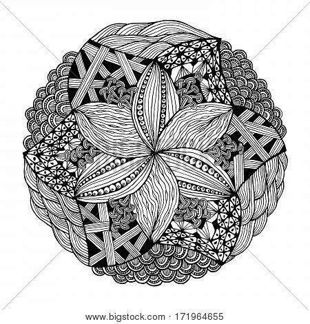 Black and white abstract zendala. Vector illustration.