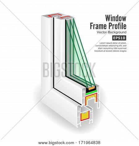 Window Frame Structure. Three Transparent Glass. Vector