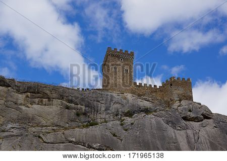 Tower Genoese fortress on a cliff. Sudak. Crimea