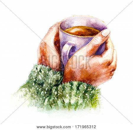Hand drawn watercolor illustration. Elements of home comfort, hygge. Coffee cup in female hands isolated on white background. Aquarelle sketch.