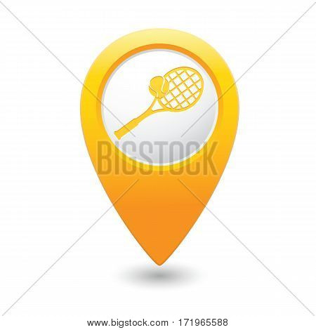 Tennis racket and ball icon on the yellow map pointer