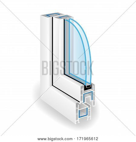 Plastic Window Frame Profile. Two Transparent Glass. Illustration Of Structure