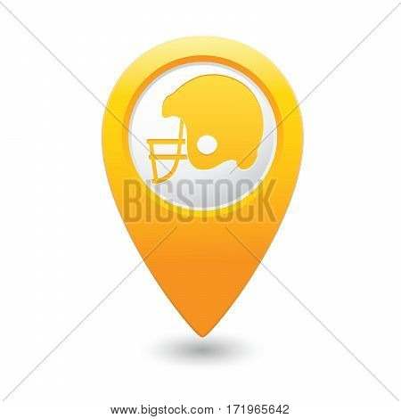 Yellow map pointer with American football icon