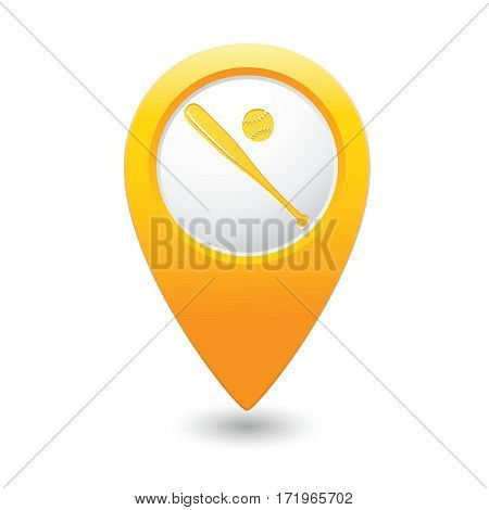 Yellow map pointer with baseball symbol icon