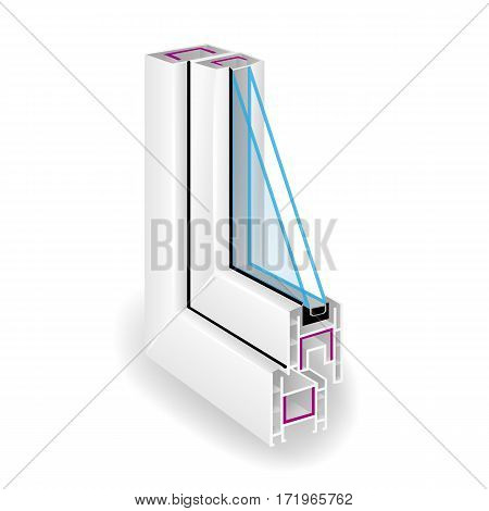 Plastic Profile Frame Window. Two Transparent Glass. Sectional View. Vector