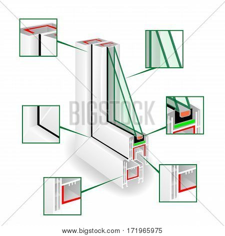 Plastic Window Frame Profile. Infographic Templeate. Vector