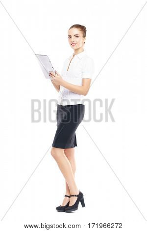 Young, confident and beautiful customer support operator with tablet computer isolated on white. Occupation, career, job concept.