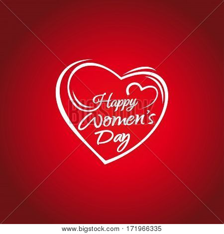 Happy Women's Day. 8 march greeting card. Hand lettering on the background framework of hearts. Woman Day lettering. Greeting inscription on a red background. Vector illustration