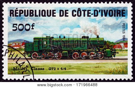 IVORY COAST - CIRCA 1984: a stamp printed in Ivory Coast shows Mallet class GT2 Locomotive circa 1984