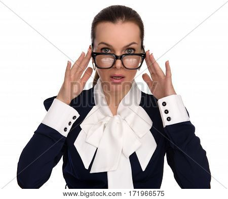 Surtrised Beautiful Business Woman Wearing Glasses
