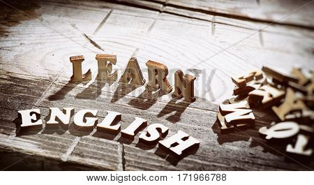 Word Learn English Made With Wooden Letters