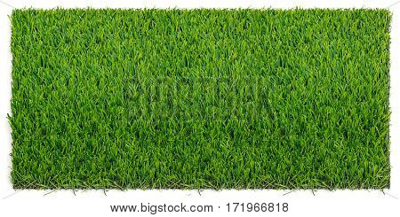 Grass mat isolated on white background. Artificial turf tile background.