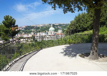 Italy Naples the city with the dome of the Buonconsiglio curch seen from the lookout of the Capodimonte park