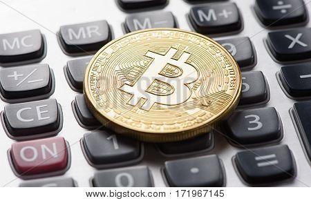Golden Bitcoin On Calculator