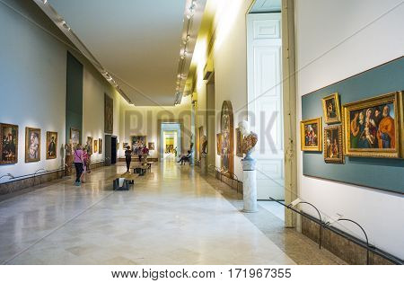 Naples Italy - June 18 2016: The hall with sacred paintings of the Capodimonte royal palace