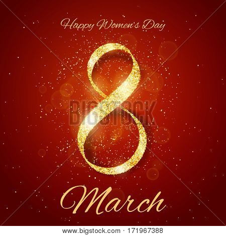 Vector Happy Women's Day greeting card with sparkling glitter gold ribbon figure eight on red background. 8 march luxury background