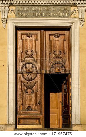 Elegant Vintage Door To The Church. The Inscription In Latin. Saint-petersburg.