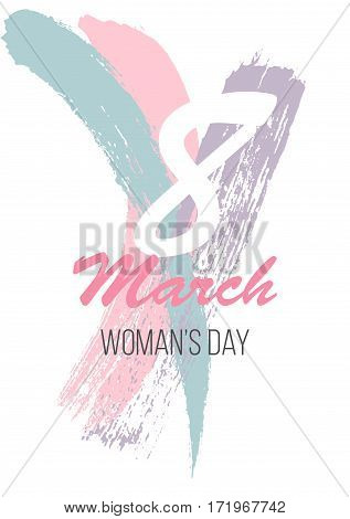 March 8 Happy Womans Day Greeting Card. Vector Illustration Eps10
