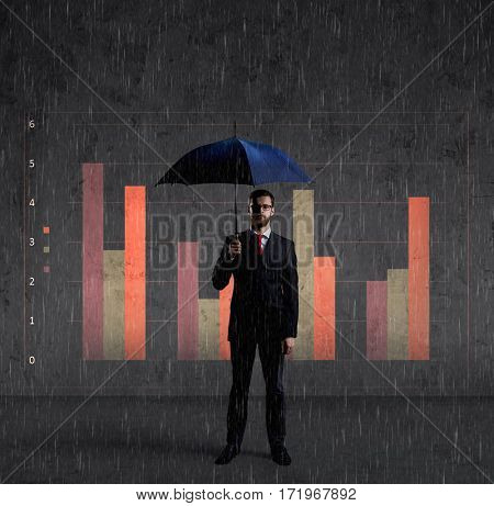 Businessman with umbrella standing over column diagram background. Business, default, change, crisis concept.