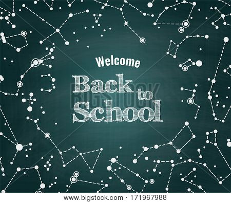Vector Back to school green chalkboard background with constellations