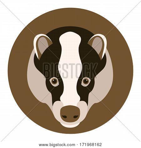 badger head  face  vector illustration style Flat