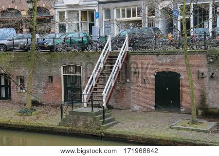 Utrecht the Netherlands - February 13 2016: Famous Oudegracht canal in historic city centre (Oudegracht)
