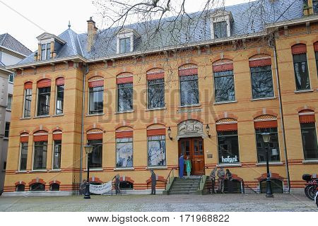 Utrecht the Netherlands - February 13 2016: House of Performance in city centre (Hamburgerstraat)