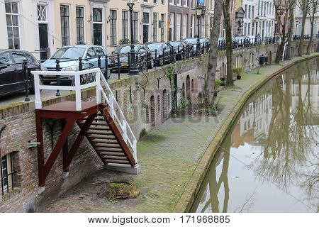 Utrecht the Netherlands - February 13 2016: River canal in in historic city centre (Nieuwegracht)