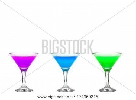 Three Martini Glasses With Multicolor Cocktails - Cheers!!