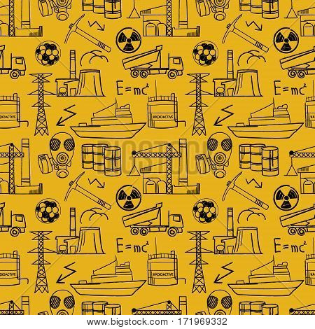 Industrial sketch seamless pattern. Nuclear energy industry.