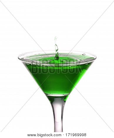 Green Cocktail With Splash Isolated On White Background