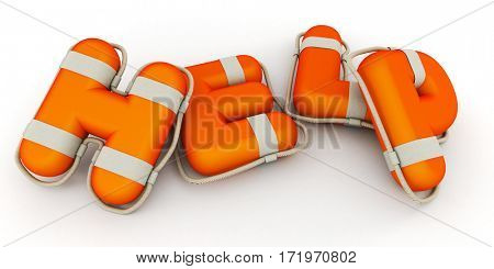 The word help rendered in Lifebuoy texture (horizontal composition) 3D rendering