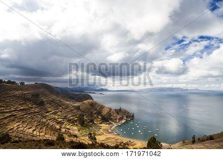 Harbor at Isla del Sol Lake Titicaca Bolivia