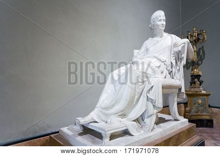 Naples Italy - June 18 2016: A Canova's sculpture in a hall of the Capodimonte royal palace