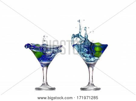 Collage Blue Cocktail With Splashes Isolated On White Background