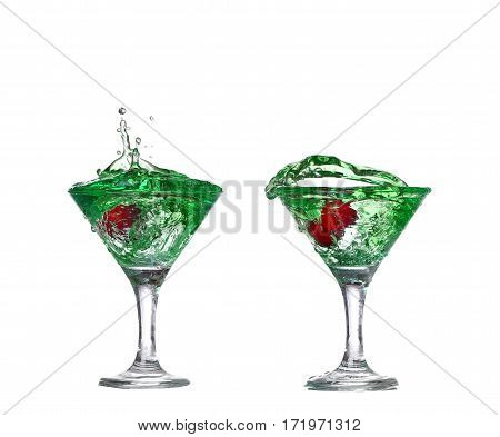 Collage Green Cocktail With  Isolated On White Background