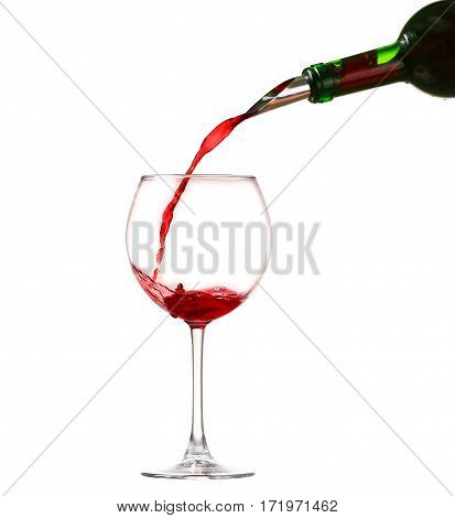 Wine Collection - Splashing Red Wine In A Glass. Isolated On White Background And Pourer